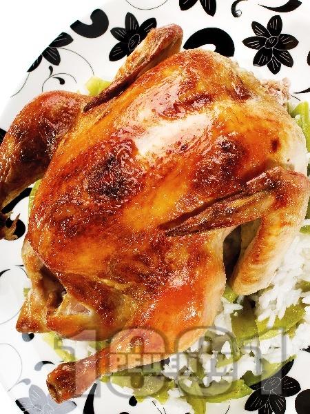 Печено пиле със сметана, мед и горчица  на фурна - снимка на рецептата